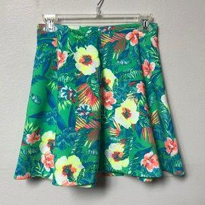 Floral Hawaiian hibiscus print skater skirt
